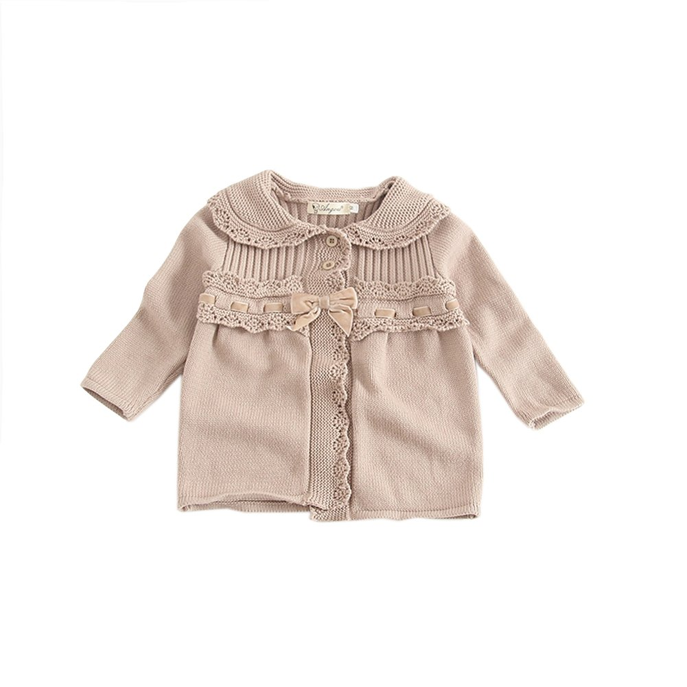 ALLAIBB Baby Girls Sweater Coat Solid Color Turn Down Collar Lace and Bowtie