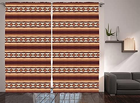 Native American Decor Curtains By Ambesonne, Native Ethnic Tribal Indigenous Pattern, Window Drapes 2 Panel Set For Living Room Bedroom, 108W X 84L Inches