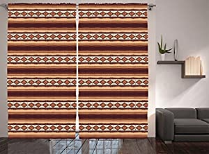 Native American Decor Curtains By Ambesonne, Native Ethnic Tribal  Indigenous Pattern, Window Drapes 2 Panel Set For Living Room Bedroom, 108  W X 84 L Inches