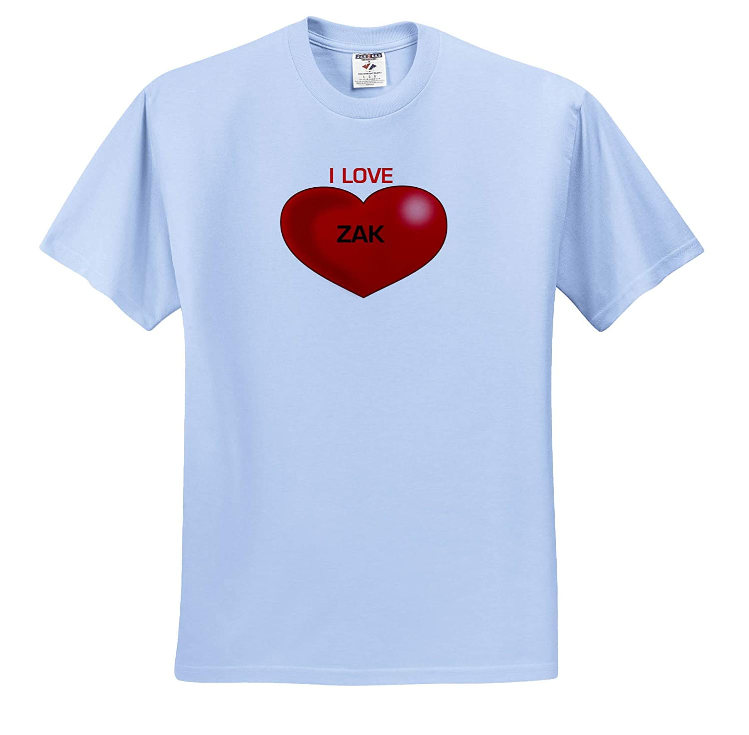 Love Hearts with Names 3dRose Lens Art by Florene T-Shirts Image of Zak I Love You with Big Red Heart