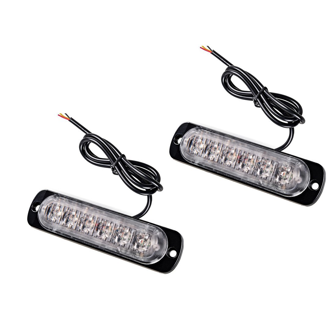 Penfly 2pcs 8w 6LEDs Super Slim Car Strobe Warning Flash Light Emergency Security Lamp Beacon Hazard Mark Side Exterior Signal Vehicle Truck Bus Boat SUV Amber/Yellow Light Color DC 12-24v