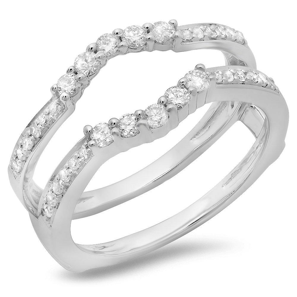 0.50 Carat (ctw) 14K White Gold Round Cut Diamond Wedding 5 Stone Enhancer Guard Ring 1/2 CT (Size 8)