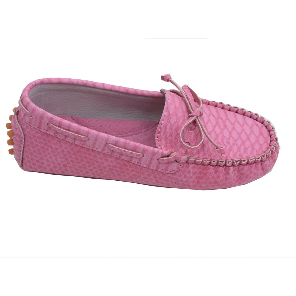 LAmour Toddler Girls Fuchsia Bow Leather Moccasin 7-10 Toddler