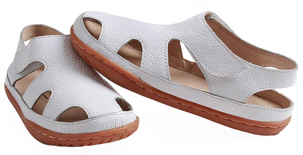 IDIFU Boy's Girl's Comfy Breathable Cut Out Flat Leather Velcro Sandals Beach Shoes White 2.5 M US Little Kid