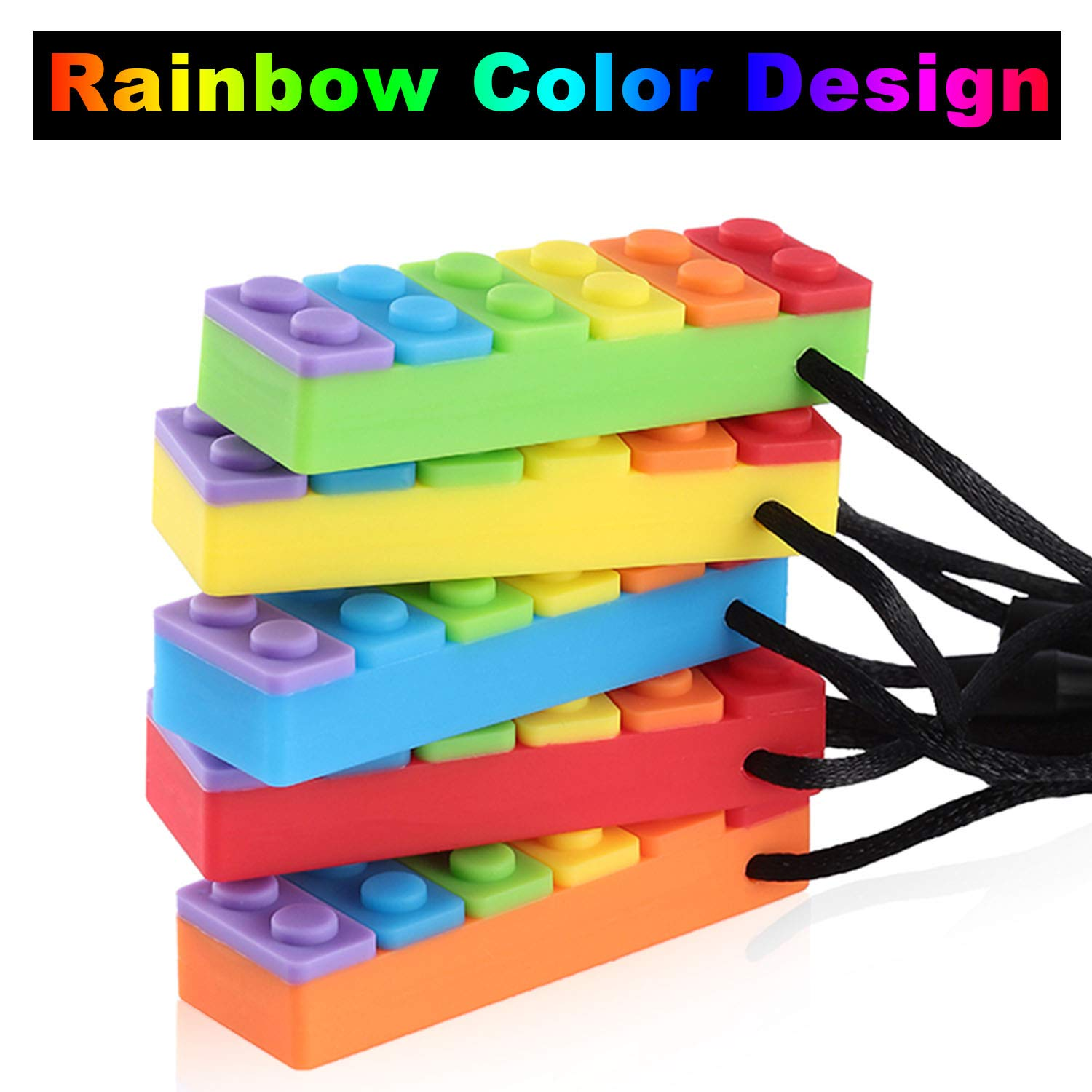Autistic Children,5 Pack Anxiety SLGOL Rinbow Color Silicone Chew Pendant Training and Development Fidget Toy Chewing Necklace for Teething Babies Sensory Chew Necklace Oral Motor Autism ADHD SPD
