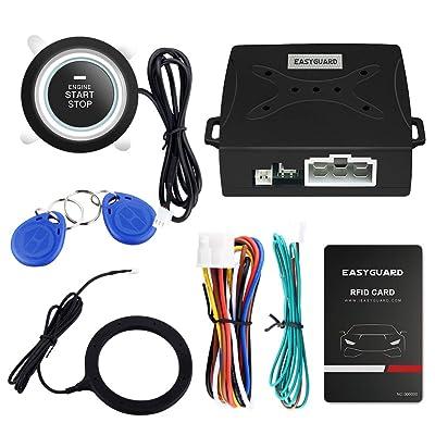 EASYGUARD EC004 Smart RFID Car Alarm System Push Engine Start Button & Keyless Go System Fits for Most DC12V Cars [5Bkhe0906994]