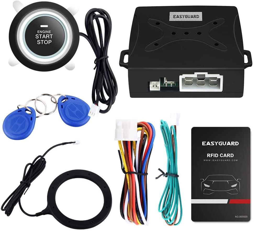 EASYGUARD EC004 Smart Rfid Car Alarm system With Push Engine Start button Transponder Immobilizer Keyless Go System