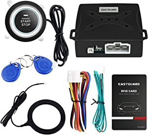 EASYGUARD EC004 Smart RFID Car Alarm System Push Engine Start Button & Keyless Go System Fits for Most DC12V Cars