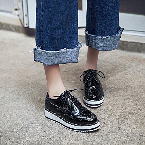 Black Up Show Shoes Oxfords Platform Shine Lace Women's Fashion wwrxf8Iq