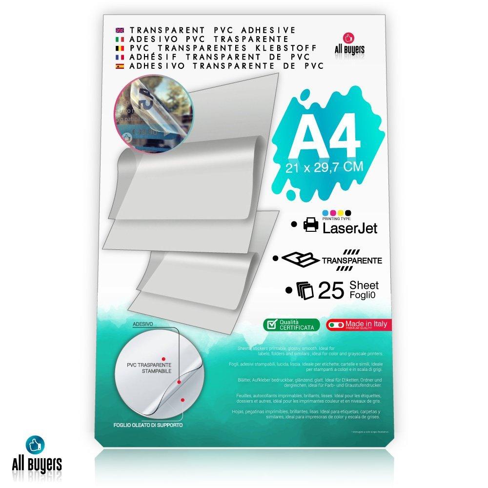 Hojas de papel adhesivo de vinilo A4 (21 x 29,7 cm), papel brillante de vinilo 5, 10, 15, 20, 25 para impresoras láser, transparentes: Amazon.es: Oficina y ...