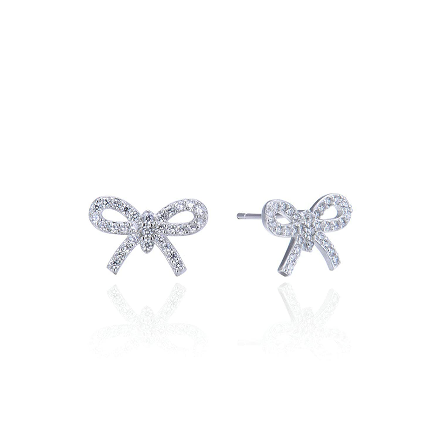 Sterling Silver Plated Cubic Zirconia Bowknot Bowtie Charm Stud Earrings
