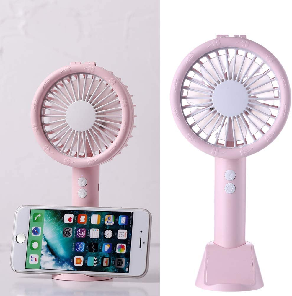 Pink USB Fan,Mini Handheld Fan with Light USB Rechargeable Cooling Fan with Base for Home Office Travel Outdoor