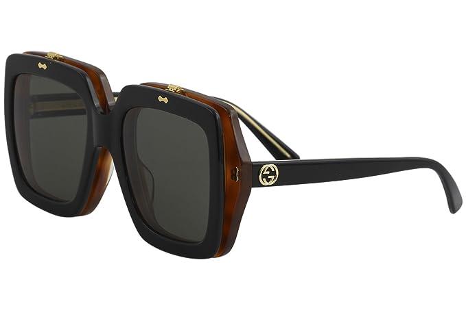 Gucci GG0088S 002, Gafas de Sol para Mujer, Negro (Black/Grey), 55: Amazon.es: Ropa y accesorios