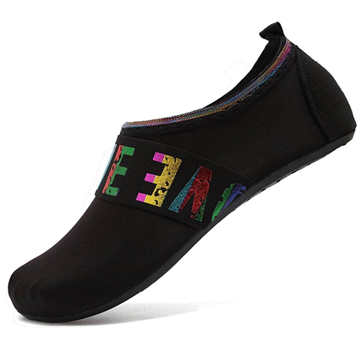 Unisex Womens Barefoot Quick-Dry Water Shoes Aqua Socks for Beach Pool Surf Yoga Love-Black 38-39