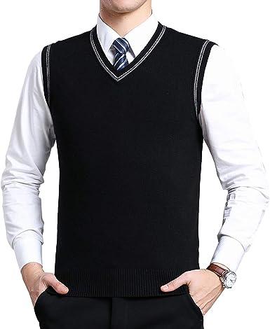 MEN PLAIN TANK TOP BUSINESSSLIPOVER V-NECKKeep Warm Knitted Vest
