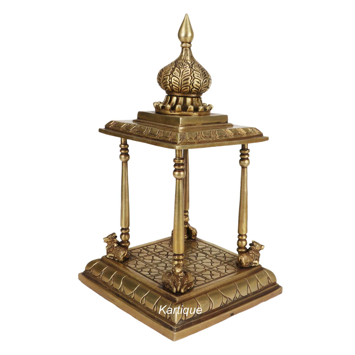 Kartique Handcrafted Brass Temple Pooja Mandir For Living Room Pooja Decoration Religious Home Decor Amazon In Home Kitchen