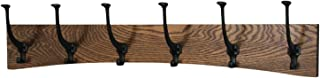 """product image for PegandRail Oak Wall Mounted Coat Rack - Arched Back Design - Black Mission Hooks - Made in The USA (Walnut, 30.5"""" x 6.5"""" - 6 Hooks)"""