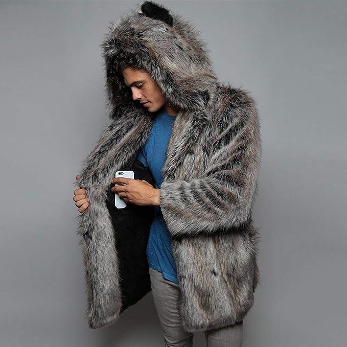 Fashion Mens Winter Warm Thickening Long Coat Jacket Faux-Fur Outwear Cardigan