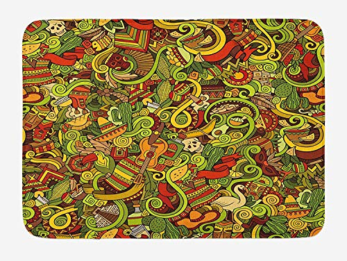 Weeosazg Fiesta Bath Mat, Cartoon Style Latin American Elements Guitar Hat Facemasks Swirls Ethnic Culture, Plush Bathroom Decor Mat with Non Slip Backing, 31.5 X 19.7 Inches, Multicolor]()