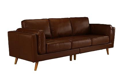 Divano Roma Furniture   Classic Mid Century Modern Tufted Real Leather Sofa  (Dark Brown)