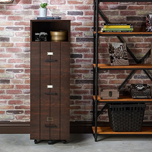 Furniture of America Ceris Rustic Slatted 3-drawer Mobile Vintage Walnut File Cabinet by FurnitureofAmerica.