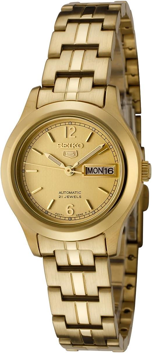 Amazon Com Seiko Women S Syme02 Seiko 5 Automatic Gold Dial Gold Tone Stainless Steel Watch Seiko Watches