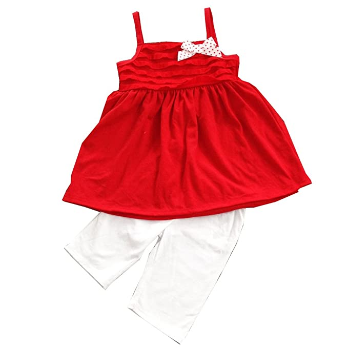 863d4bcedeee Girls Toddler's Summer Suspender Dress Top with 1/2 White Pant Sets 4 5 6