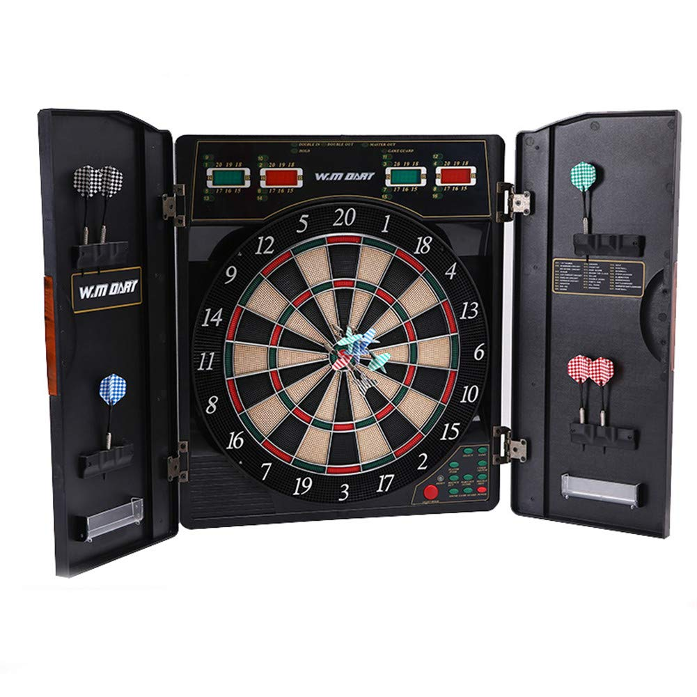 Electronic Dartboard and Cabinet Set Screen Scoreboard LED Display With 12 Soft Tip Darts for Reduced Bounce-Outs