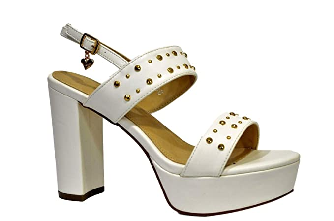 B2060 Colore 10 Cm Braccialini Bianco Donna Scarpe Sandalo Tacco 8nPw0Ok