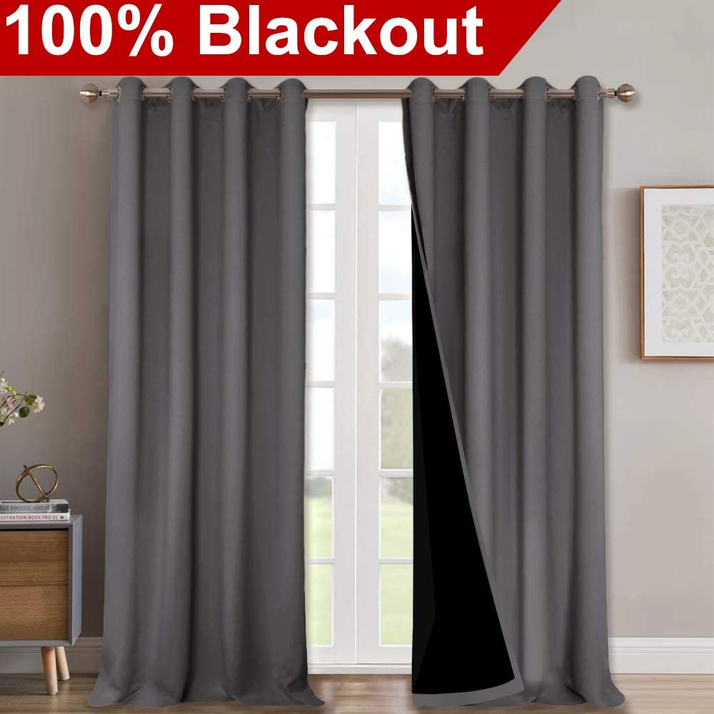 NICETOWN 100% Blackout Blinds, Laundry Room Decor Window Treatment Curtains for Large Patio Sliding Door, Thermal Insulated Grey Curtains for Bedroom, Set of 2, 52 inches x 108 inches