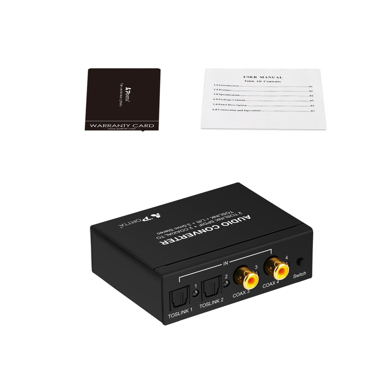Portta Convertidor SPDIF 4 Puertos(2 Toslink y 2 Coaxial) digital audio switch a 3 salidas SPDIF / Toslink + analógico R / L RCA + auriculares de 3.5mm con ...