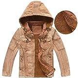 Amcupider Big Boys Denim Fleece Winter Coat with Detachable Hood