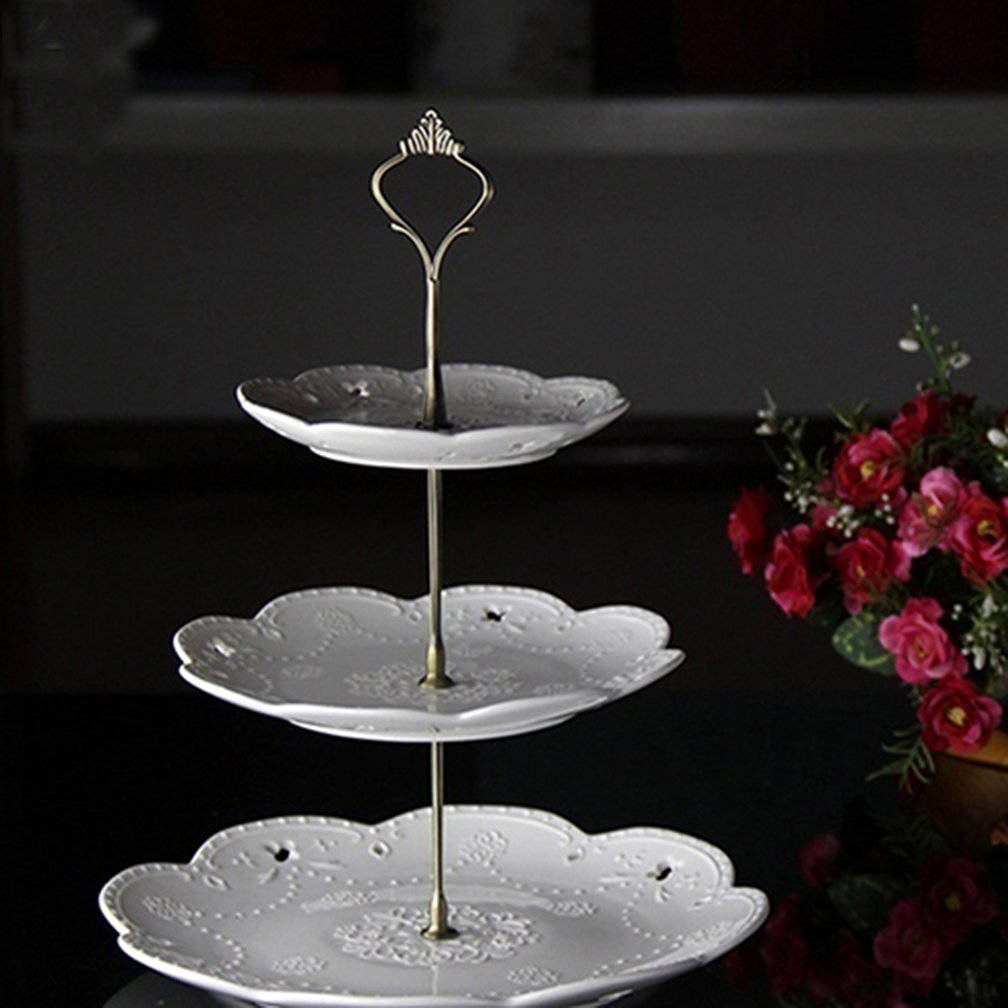 Gilroy 3 Tier Round Cupcake Display Stand Cake Plate Handle Fitting Wedding Party Table Decor by Gilroy (Image #2)