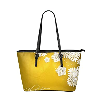 d7efe3425af Golden Snowflake In Winter Party Large Soft Leather Portable Top Handle  Hand Totes Bags Causal Handbags