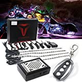 (US) VBROS 8Pc Muti-Colour Sound Activated Flash Motorcycle Accent LED Light Kit Under Glow Neon Strips For Harley Sportster V-rod Dyna and Softail