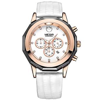 de609d34737 Megir Chronograph White Leather Strap Quartz Wrist Watches for women Date  Indicator 24-hour Indicator Watch  Amazon.co.uk  Watches