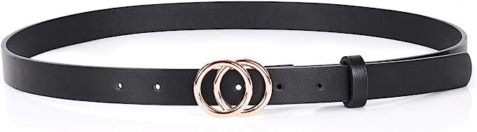 New Women/'s Ladies Skinny Buckle Waist Belt Thin Leather Narrow Waistband PB