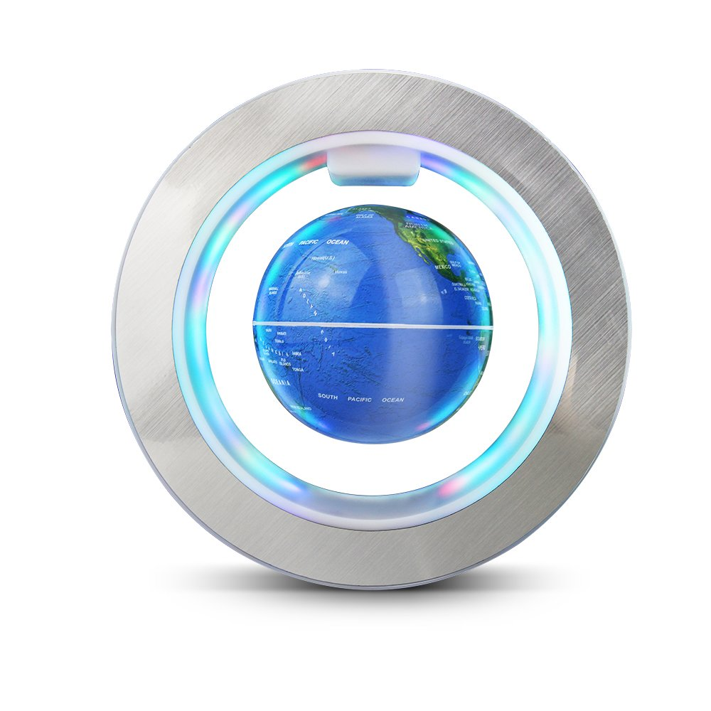 Aukee Magnetic Floating Globe World Map Circular Frame with Colorful LED for Home Office Desk Decoration 4 inch Blue by Aukee
