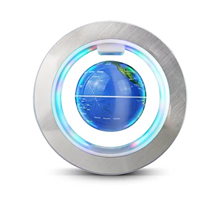 Aukee Magnetic Floating Globe World Map Circular Frame With Colorful LED  For Home Office Desk Decoration