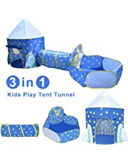 Yuhebaby Play Tent for Kids,Rocket Ship Pop Up Tent With Tunnel and Ball Pit for Toddlers (3-Piece Set), Kids Tents and Playhouses for Boys, Girls, Babies, Toddlers & Pets – for Indoor & Outdoor Use, with Carrying Case