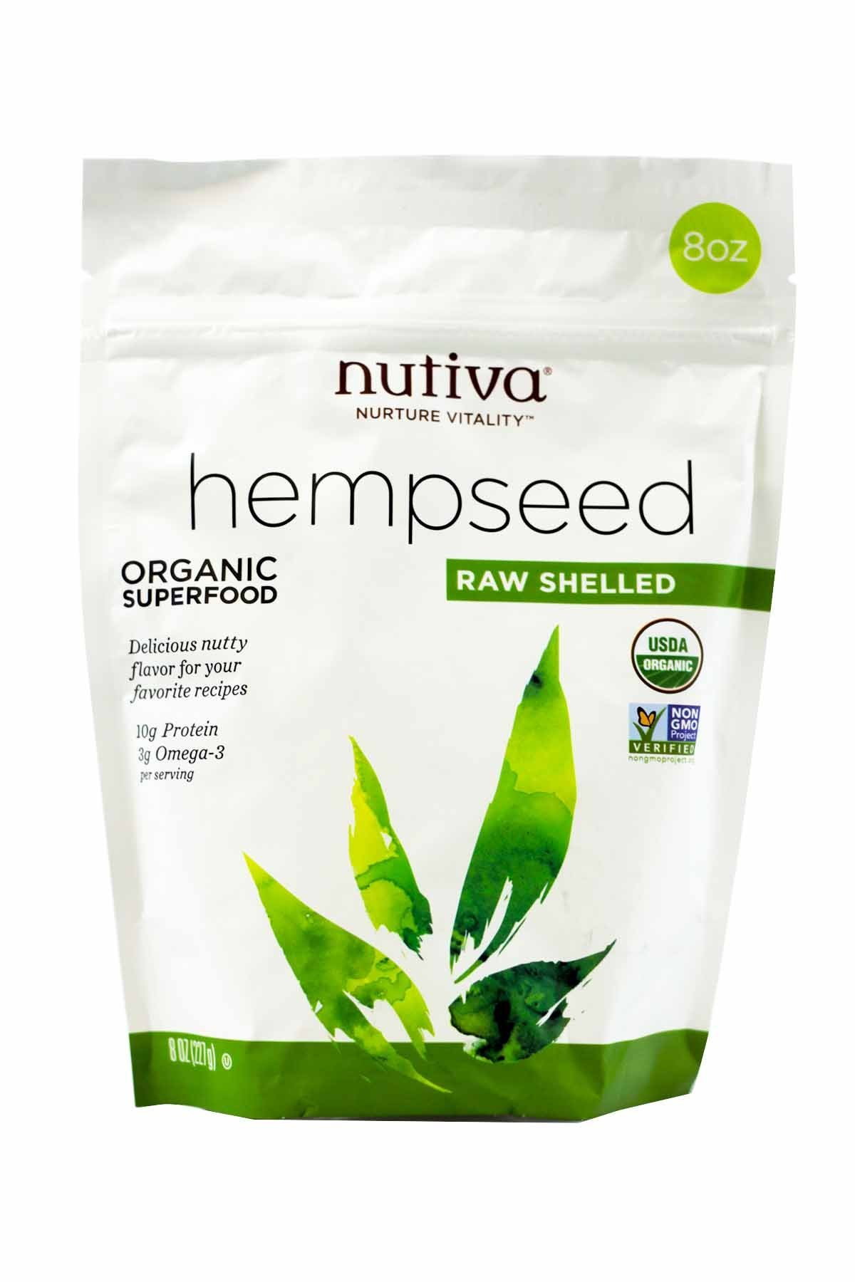 Nutiva Organic, Raw, Shelled Hempseed from non-GMO, Sustainably Farmed Canadian Hemp, 8-ounce