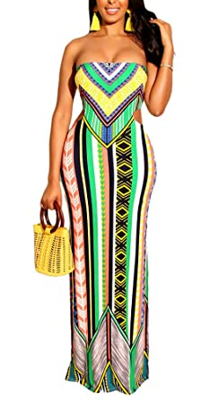 b548b9957a ThusFar Womens Strapless Maxi Dress - Sexy Tube Ethnic Stripe Print  Backless Cut Out Bodycon Summer Beach Long Dresses at Amazon Women's  Clothing store:
