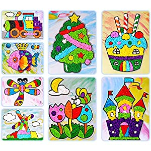 iFCOW Sticky Felt Paper Painting Kit 8 Cards DIY Craft Toy Kindergarten Handicraft Material