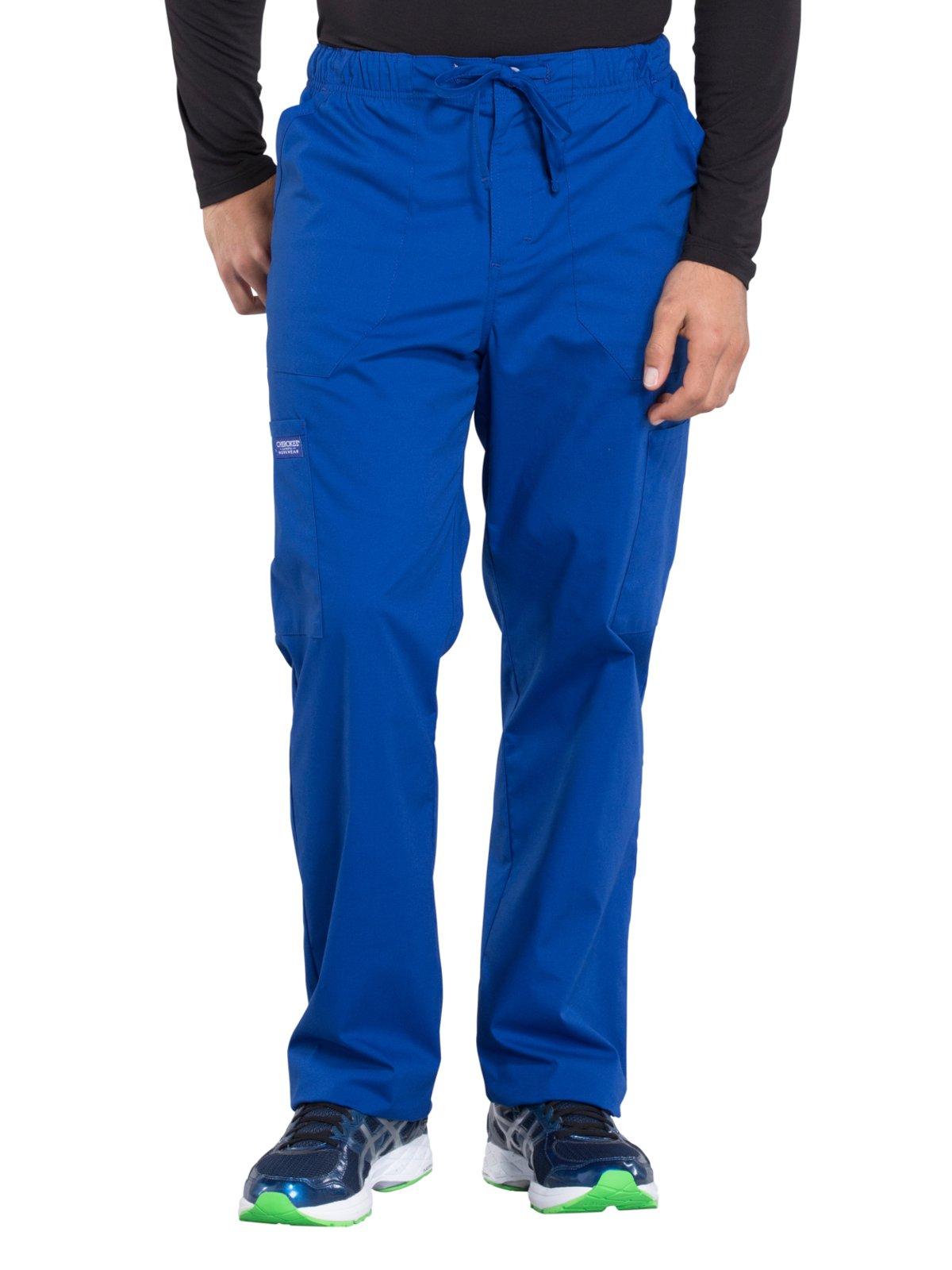 Cherokee Professionals Workwear Men's Tapered Leg Zip Fly Drawstring Scrub Pant Small Tall Galaxy Blue