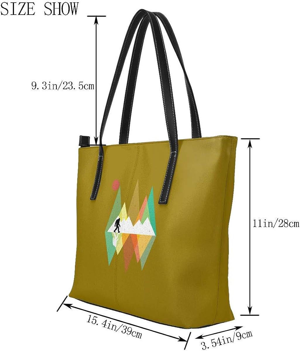 Bigfoot Geometric Mountains Shoulder Portable Pu Leather Casual Handbag Tote Personalized Ladies Fashion Bag For Women