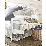 Mud Pie Woven Tassel White Throw Blanket,