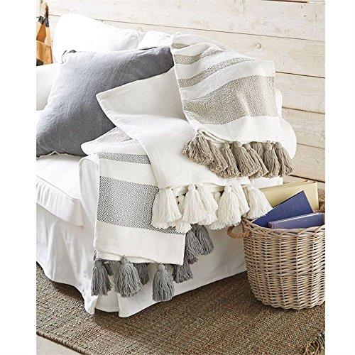 Mud Pie Woven Tassel White Throw Blanket ()