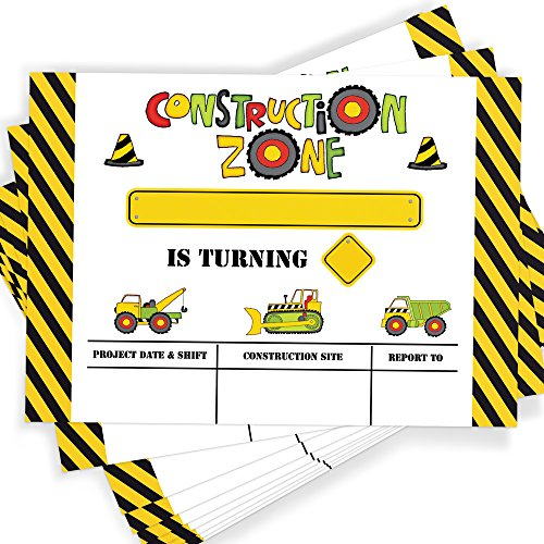 Construction Party Invitation | 25 Invitations and Envelopes | Construction Birthday Party Invitations, Ideas, and Supplies -