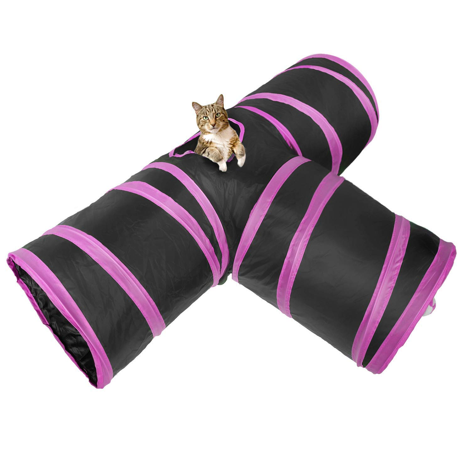 Pink Cat Tunnel Pet Supplies Toy Cat Tunnel Folding Type 3 Tunnels (color   Pink)