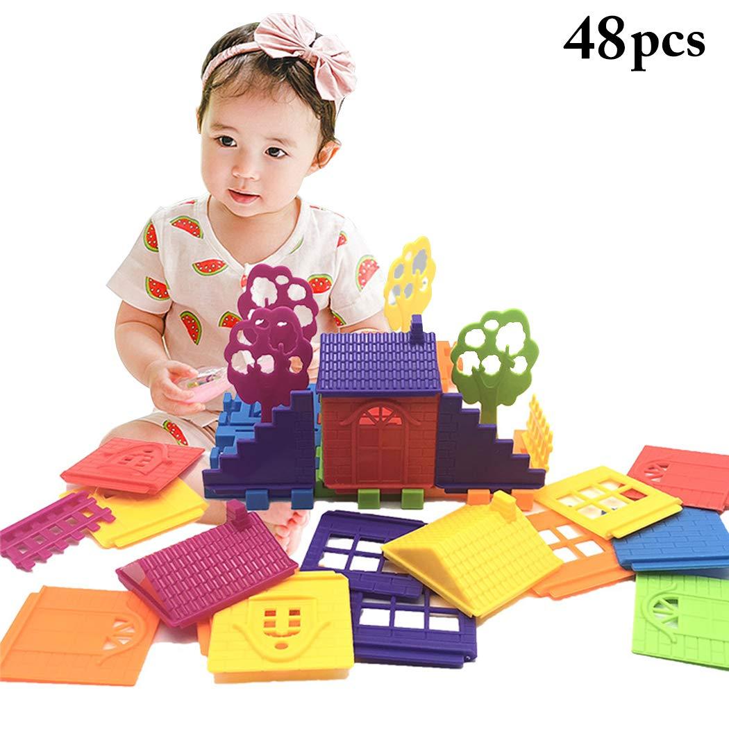 B bangcool 48PCS Building Block Plastic Multi-Purpose Building Brick Educational Toy
